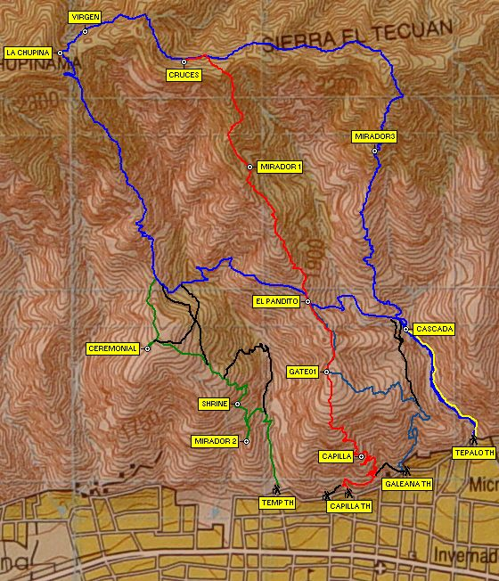 Trail maps showing how the main hiking trails in Ajijic intersect.