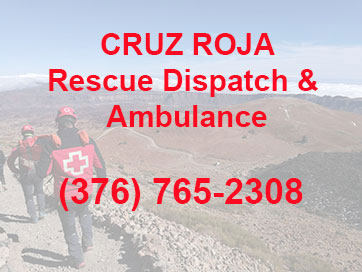 Button with contact information for the Cruz Roja emergency task force for hikers.